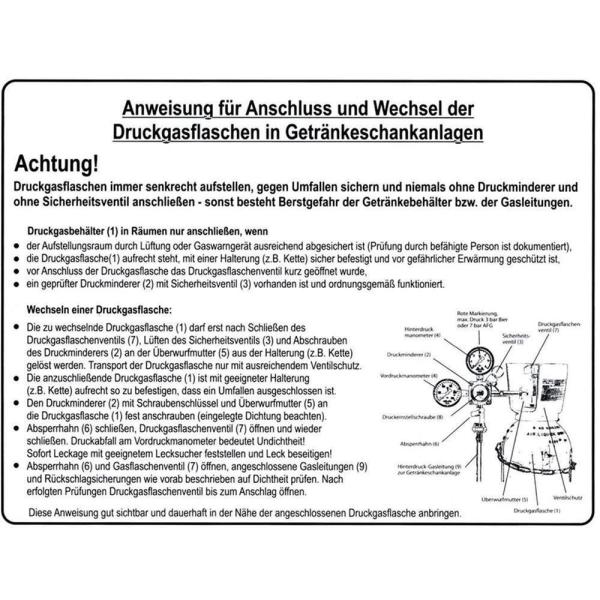 Betriebsanweisung für Getränkeschankanlagen nach BGR228 - Schild aus Kunststoff