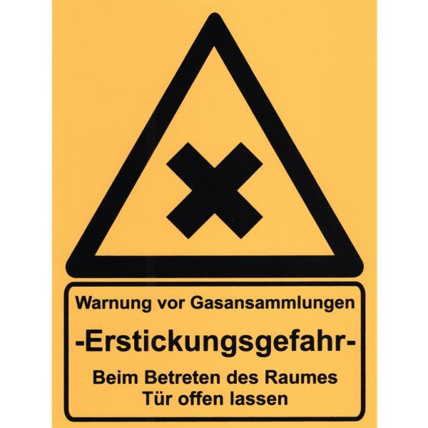 Warnschild vor CO2 Austritt - Schild aus Kunststoff