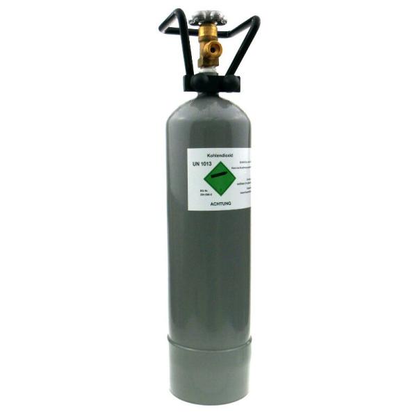 Kohlensäureflasche CO2 Flaschen für Getränke mit Füllung 2 kg & TÜV-Zulassung